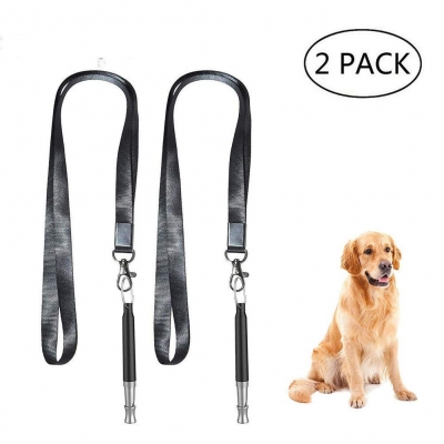 HengLiSam Dog Whistle, Dog Training Whistle to Stop Barking Adjustable Frequency Ultrasonic Sound Training Tool Dog Bark Control with Free Premium Quality Lanyard 2 Pack Black Pet Whistle